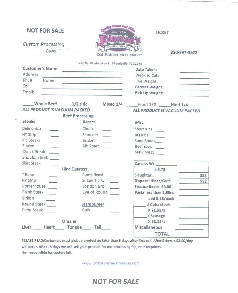 Custom Processing Worksheet for Cattle